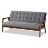 Baxton Studio Asta Mid-Century Modern Grey Velvet Fabric Upholstered Walnut Finished Wood Sofa Baxton Studio restaurant furniture, hotel furniture, commercial furniture, wholesale living room furniture, wholesale sofa, classic sofa