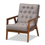 Baxton Studio Naeva Mid-Century Modern Grey Fabric Upholstered Walnut Finished Wood Armchair Baxton Studio restaurant furniture, hotel furniture, commercial furniture, wholesale living room furniture, wholesale accent chair, classic accent chair