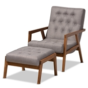 Baxton Studio Naeva Mid-Century Modern Grey Fabric Upholstered Walnut Finished Wood 2-Piece Armchair and Footstool Set Baxton Studio restaurant furniture, hotel furniture, commercial furniture, wholesale living room furniture, wholesale chair and ottoman, classic chair and ottoman