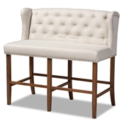 Baxton Studio Alira Modern and Contemporary Beige Fabric Upholstered Walnut Finished Wood Button Tufted Bar Stool Bench