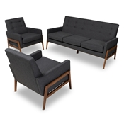 Baxton Studio Perris Mid-Century Modern Dark Grey Fabric Upholstered Walnut Finished Wood 3-Piece Living Room Set Baxton Studio restaurant furniture, hotel furniture, commercial furniture, wholesale living room furniture, wholesale sofa sets, classic sofa sets
