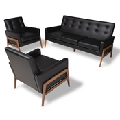 Baxton Studio Perris Mid-Century Modern Black Faux Leather Upholstered Walnut Finished Wood 3-Piece Living Room Set Baxton Studio restaurant furniture, hotel furniture, commercial furniture, wholesale living room furniture, wholesale sofa sets, classic sofa sets