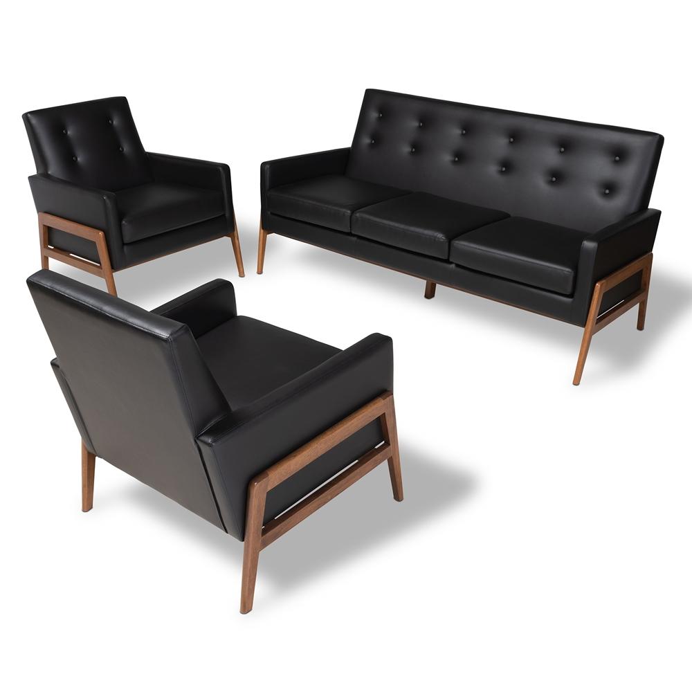 baxton studio perris midcentury modern black faux leather