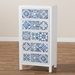 Baxton Studio Alma Spanish Mediterranean Inspired White Wood and Blue Floral Tile Style 5-Drawer Accent Chest - IEJY215-White-5DW-Chest