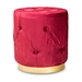 Baxton Studio Gaia Glam and Luxe Red Velvet Fabric Upholstered Gold Finished Button Tufted Ottoman - IEFJ5A-015-Red/Gold-Otto