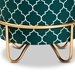 Baxton Studio Candice Glam and Luxe Teal Green Quatrefoil Velvet Fabric Upholstered Gold Finished Metal Ottoman - IEJY19A254-Teal/Gold-Otto