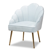 Baxton Studio Cinzia Glam and Luxe Light Blue Velvet Fabric Upholstered Gold Finished Seashell Shaped Accent Chair Baxton Studio restaurant furniture, hotel furniture, commercial furniture, wholesale living room furniture, wholesale accent chairs, classic accent chairs