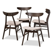 Baxton Studio Britte Mid-Century Modern Beige Fabric Upholstered Dark Oak Brown Finished 4-Piece Wood Dining Chair Set Baxton Studio restaurant furniture, hotel furniture, commercial furniture, wholesale dining room furniture, wholesale dining chairs, classic dining chairs