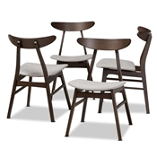 Baxton Studio Britte Mid-Century Modern Light Grey Fabric Upholstered Dark Oak Brown Finished 4-Piece Wood Dining Chair Set