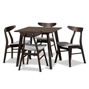 Baxton Studio Britte Mid-Century Modern Light Grey Fabric Upholstered Dark Oak Brown Finished 5-Piece Wood Dining Set Baxton Studio restaurant furniture, hotel furniture, commercial furniture, wholesale dining room furniture, wholesale dining sets, classic dining sets