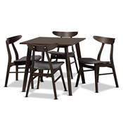 Baxton Studio Britte Mid-Century Modern Dark Grey Fabric Upholstered Dark Oak Brown Finished 5-Piece Wood Dining Set Baxton Studio restaurant furniture, hotel furniture, commercial furniture, wholesale dining room furniture, wholesale dining sets, classic dining sets