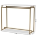 Baxton Studio Renzo Modern and Contemporary Brushed Gold Finished Metal Console Table with Faux Marble Tabletop - IEAA-1820-Marble/Gold-Console