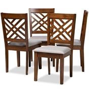Baxton Studio Caron Modern and Contemporary Grey Fabric Upholstered Walnut Brown Finished 4-Piece Wood Dining Chair Set