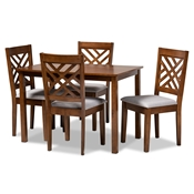 Baxton Studio Caron Modern and Contemporary Grey Fabric Upholstered Walnut Brown Finished Wood 5-Piece Dining Set Baxton Studio restaurant furniture, hotel furniture, commercial furniture, wholesale dining room furniture, wholesale dining sets, classic dining sets