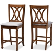 Baxton Studio Reneau Modern and Contemporary Grey Fabric Upholstered Walnut Brown Finished 2-Piece Wood Counter Height Pub Chair Set Baxton Studio restaurant furniture, hotel furniture, commercial furniture, wholesale bar furniture, wholesale counter stools, classic counter stools