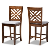 Baxton Studio Caron Modern and Contemporary Grey Fabric Upholstered Walnut Brown Finished 2-Piece Wood Counter Height Pub Chair Set Baxton Studio restaurant furniture, hotel furniture, commercial furniture, wholesale bar furniture, wholesale counter stools, classic counter stools