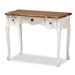 Baxton Studio Sophie Classic Traditional French Country White and Brown Finished Small 3-Drawer Wood Console Table - IE132050-White-Console