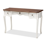 Baxton Studio Sophie Classic Traditional French Country White and Brown Finished Large 3-Drawer Wood Console Table Baxton Studio restaurant furniture, hotel furniture, commercial furniture, wholesale bedroom furniture, wholesale vanity, classic vanity