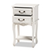 Baxton Studio Gabrielle Traditional French Country Provincial White-Finished 2-Drawer Wood Nightstand - IEETASW-06-White-NS