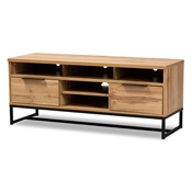 Baxton Studio Reid Modern and Contemporary Industrial Oak Finished Wood and Black Metal 2-Drawer TV Stand Baxton Studio restaurant furniture, hotel furniture, commercial furniture, wholesale living room furniture, wholesale tv stand, classic tv stand