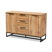 Baxton Studio Reid Modern and Contemporary Industrial Oak Finished Wood and Black Metal 3-Drawer Sideboard Buffet Baxton Studio restaurant furniture, hotel furniture, commercial furniture, wholesale dining furniture, wholesale counter sideboard, classic sideboard