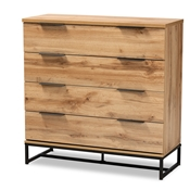 Baxton Studio Reid Modern and Contemporary Industrial Oak Finished Wood and Black Metal 4-Drawer Dresser