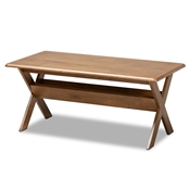 Baxton Studio Sarai Modern Transitional Walnut Brown Finished Rectangular Wood Coffee Table Baxton Studio restaurant furniture, hotel furniture, commercial furniture, wholesale living room furniture, wholesale coffee table, classic coffee table