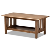 Baxton Studio Rylie Traditional Transitional Mission Style Walnut Brown Finished Rectangular Wood Coffee Table Baxton Studio restaurant furniture, hotel furniture, commercial furniture, wholesale living room furniture, wholesale coffee table, classic coffee table