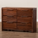 Baxton Studio Torres Modern and Contemporary Brown Oak Finished 6-Drawer Wood Dresser - IETorres-Rain Oak-6DW-Dresser