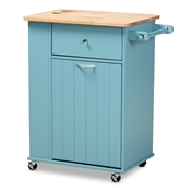 Baxton Studio Liona Modern and Contemporary Sky Blue Finished Wood Kitchen Storage Cart Baxton Studio restaurant furniture, hotel furniture, commercial furniture, wholesale dining room furniture, wholesale kitchen cart, classic kitchen cart