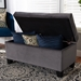 Baxton Studio Michaela Modern and Contemporary Grey Velvet Fabric Upholstered Storage Ottoman - IEWS-20091-Grey Velvet-Otto