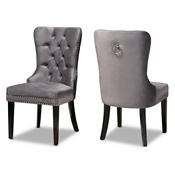 Baxton Studio Remy Modern Transitional Grey Velvet Fabric Upholstered Espresso Finished 2-Piece Wood Dining Chair Se