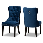 Baxton Studio Remy Modern Transitional Navy Blue Velvet Fabric Upholstered Espresso Finished 2-Piece Wood Dining Chair Set
