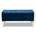Baxton Studio Valere Glam and Luxe Navy Blue Velvet Fabric Upholstered Gold Finished Button Tufted Storage Ottoman - IEWS-H68-GD-Navy Blue Velvet/Gold-Otto