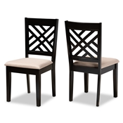 Baxton Studio Caron Modern and Contemporary Sand Fabric Upholstered Espresso Brown Finished Wood 2-Piece Dining Chair Set