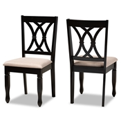 Baxton Studio Reneau Modern and Contemporary Sand Fabric Upholstered Espresso Brown Finished Wood 2-Piece Dining Chair Set