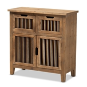 Baxton Studio Clement Rustic Transitional Medium Oak Finished 2-Door and 2-Drawer Wood Spindle Accent Storage Cabinet Baxton Studio restaurant furniture, hotel furniture, commercial furniture, wholesale living room furniture, wholesale storage cabinet, classic storage cabinet