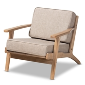 Baxton Studio Sigrid Mid-Century Modern Light Grey Fabric Upholstered Antique Oak Finished Wood Armchair Baxton Studio restaurant furniture, hotel furniture, commercial furniture, wholesale living room furniture, wholesale accent chairs, classic accent chairs