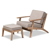 Baxton Studio Sigrid Mid-Century Modern Light Grey Fabric Upholstered Antique Oak Finished 2-Piece Wood Armchair and Ottoman Set Baxton Studio restaurant furniture, hotel furniture, commercial furniture, wholesale living room furniture, wholesale chair and ottoman, classic chair and ottoman