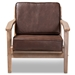 Baxton Studio Sigrid Mid-Century Modern Dark Brown Faux Leather Effect Fabric Upholstered Antique Oak Finished Wood Armchair - IESigrid-Dark Brown/Antique Oak-CC