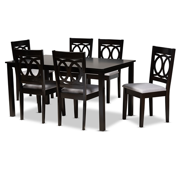 Baxton Studio Lenoir Modern and Contemporary Grey Fabric Upholstered Espresso Brown Finished Wood 7-Piece Dining Set