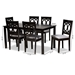 Baxton Studio Lenoir Modern and Contemporary Grey Fabric Upholstered Espresso Brown Finished Wood 7-Piece Dining Set - IERH315C-Grey/Dark Brown-7PC Dining Set