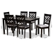 Baxton Studio Caron Modern and Contemporary Grey Fabric Upholstered Espresso Brown Finished Wood 7-Piece Dining Set - IERH317C-Grey/Dark Brown-7PC Dining Set