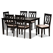 Baxton Studio Reneau Modern and Contemporary Sand Fabric Upholstered Espresso Brown Finished Wood 7-Piece Dining Set Baxton Studio restaurant furniture, hotel furniture, commercial furniture, wholesale dining furniture, wholesale dining sets, classic dining sets
