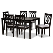 Baxton Studio Reneau Modern and Contemporary Grey Fabric Upholstered Espresso Brown Finished Wood 7-Piece Dining Set Baxton Studio restaurant furniture, hotel furniture, commercial furniture, wholesale dining furniture, wholesale dining sets, classic dining sets