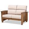 Baxton Studio Charlotte Modern Classic Mission Style Taupe Fabric Upholstered Walnut Brown Finished Wood 2-Seater Loveseat Baxton Studio restaurant furniture, hotel furniture, commercial furniture, wholesale living room furniture, wholesale loveseat, classic loveseat