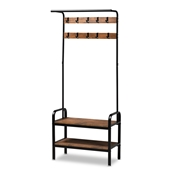 Baxton Studio Aislin Vintage Rustic Industrial Distressed Wood and Black Metal Finished Entryway Hall Tree Baxton Studio restaurant furniture, hotel furniture, commercial furniture, wholesale living room furniture, wholesale display shelf, classic display shelf