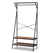 Baxton Studio Laima Vintage Rustic Industrial Distressed Wood and Black Metal Finished Entryway Coat Hanger Baxton Studio restaurant furniture, hotel furniture, commercial furniture, wholesale living room furniture, wholesale display shelf, classic display shelf