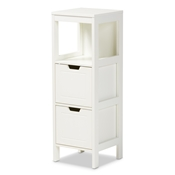 Baxton Studio Reuben Cottage and Farmhouse White Finished 2-Drawer Wood Storage Cabinet Baxton Studio restaurant furniture, hotel furniture, commercial furniture, wholesale living room furniture, wholesale storage cabinet, classic storage cabinet