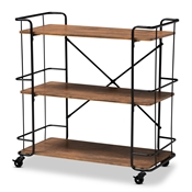 Baxton Studio Neal Rustic Industrial Style Black Metal and Walnut Finished Wood Bar and Kitchen Serving Cart Baxton Studio restaurant furniture, hotel furniture, commercial furniture, wholesale dining room furniture, wholesale kitchen cart, classic kitchen cart